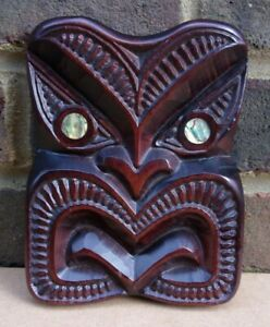 Wooden Maori Tiki with Paua Shell Eyes Wall Plaque