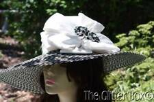 Whittall & Shon Kentucky Derby Church Special Occasion Hat Black Tan Bow
