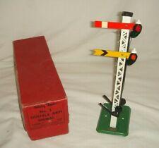 Hornby O Gauge Double Arm Signal, Lattice c1949 - GC, Boxed