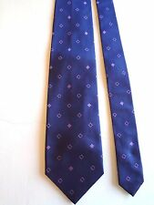 "ANDREW'S TIES - NAVY WITH LAVENDER GEOMETRIC - SILK NECK TIE - 57""LONG 3 3/4""W"