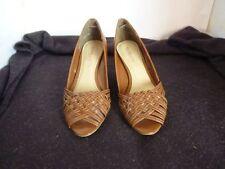 Wedge Leather Wear to Work Open Toe Heels for Women