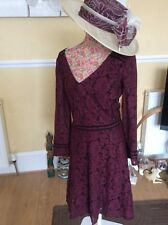 Jacques Vert Burgandy Black Lace Dress Dry Cleaned Size 22 Bnwot Hols 9.5-16.6