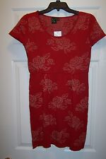 T/O Sweater Knit Dress Woman's Size Small Red with Glitter Roses Retail's $52