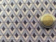 coupon de tissu  PUR coton    imprimé  losange gris beige  : 3.00 m ; Ref  MO