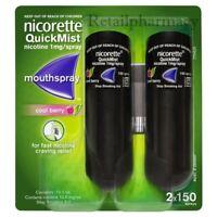 NICORETTE QUICKMIST COOL BERRY 1MG  MOUTHSPRAY 2 x 150 sprays PACK 1 2 3 6 12