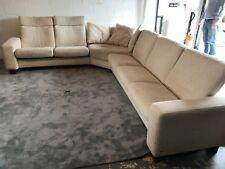 Ekornes Stressless large corner sofa with reclining seats in cream fabric