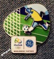 Soccer Olympic Sponser Pin~2016 RIO Logo~Slider~3D~GE~General Electric~Brazil