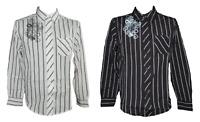 Herren Hemd Freizeithemd Langarm Schwarz Weiß Streifen Baumwolle Gr. M L XL