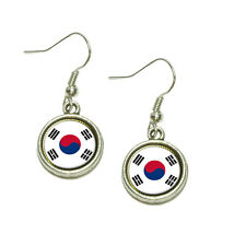 Flag of South Korea Dangling Drop Charm Earrings