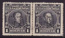 "VENEZUELA 1915 1b Black, Pair, Official ""GN"" Perfin. Fine Used."