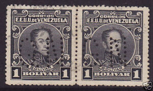 "VENEZUELA 1915 1b Black, Pair, Official ""GN"" Perfin. Fine Used."