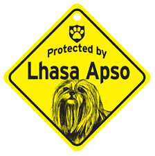 Protected by Lhasa Apso Dog Car Window Sign