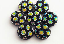Flat Round Multi Coloured Spot Glass Bead Pack of 7, 12mm each