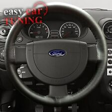 FOR FORD TRANSIT CONNECT 2002+ BLACK REAL GENUINE LEATHER STEERING WHEEL COVER