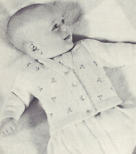Vintage Knitting PATTERN to make Baby Embroidered Cardigan Sweater Jacket