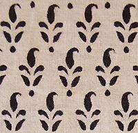 Hand Block Print Cotton. 2½ Yards Artisan Fabric. Black & Beige Natural Dyes