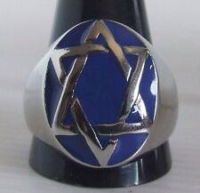 Stainless Steel Seal of Solomon Ring Custom Size Blue enamel Star of David R22ss