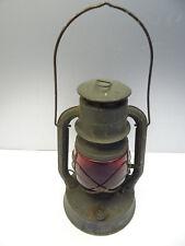 Vintage Metal Red Glass Dietz No 2 D-Lite Kerosene Tubular Barn Lantern Parts