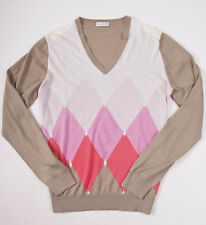 NWT $900 BALLANTYNE 100% Cashmere Sweater 50/M Tan-Pink-White Argyle V-Neck
