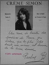 PUBLICITE CREME SIMON MADEMOISELLE PAULINE PO REINE DE BEAUTE DE 1922 FRENCH AD
