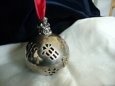 #45 vtg Lenox  Silverplate metal Christmas ball SANTA on Top no date