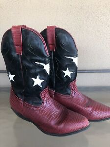 Women's Vintage Calliope Manmade Western Cowboy Red White Black Boots Size 3 1/2