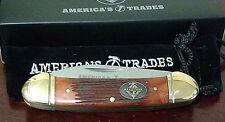 BURNT ORANGE BONE CANOE HUNTING POCKET KNIFE W/ CASE CLUB KNIFE  !!!