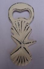 """4""""H Distress Cream Iron Seashell Starfish Shaped Handheld Bottle Opener Beige"""