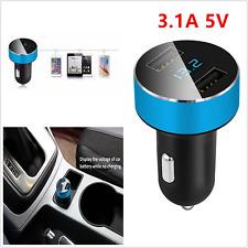3.1A 5V Dual USB Voltage Display LED Quick Car Charger Cigarette Lighter Adapter