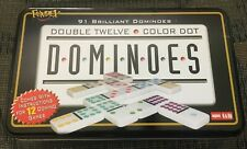 91 Color Dot Dominoes by FUNDEX, Double 12 Twelve, Metal Tin, w/instructions
