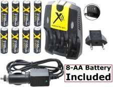 8AA Battery & Dual Volt Charger For Fujifilm FinePix S4200 HS10 HS11 S3400 S3450