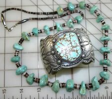 CHIMNEY BUTTE NAVAJO CUFF GREEN PILOT MOUNTAIN SPIDERWEB TURQUOISE + NECKLACE