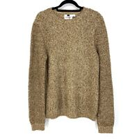 TOPMAN Mens Size Small Pullover Crew Neck Sweater Marled Brown Knit
