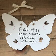 Handmade Remembrance Bereavement Wall Plaque Butterfly Heaven Sympathy Gift