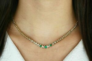 14k Yellow Gold Over 6 Ct Round Cut Emerald & Diamond Eternity Tennis Necklace