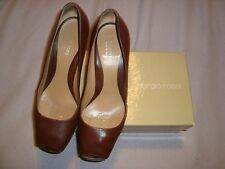 SERGIO ROSSI UK 7 EU 40 Brown Leather Peep Toes shoes RRP £ 295.00