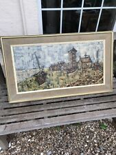 LARGE FRAMED OIL PAINTING SIGNED FRANCIS ? BOATS VILLAGE CHURCH