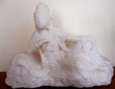 Ancien marbre Guanyin chine 40cm Old tall sculpture marble chinese asian art XIX