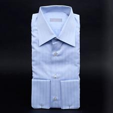 $795 NWT STEFANO RICCI Blue Striped Cotton French Cuffs Dress Shirt 15 1/2 39
