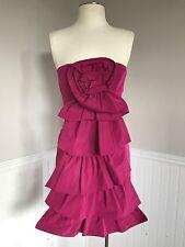 "BCBG Max Azria Dress,  4, Strapless, ""Pink Rosette"", Taffeta, Going Out,Cocktail"