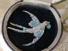 Stunning Vintage design Blue Rhinestone & Aurora Borealis Bird Brooch