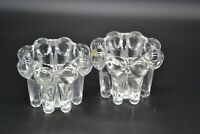 Vintage Heavy Glass Candle Votive Set of 2 Clear 2.25 x 3 inches