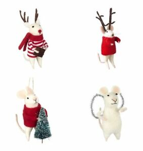 Cute Christmas Mouse Mice Wearing Red Wooly Jumper Tree Decoration Snowflake