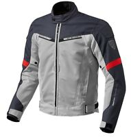 GIACCA JACKET TRAFORAT MOTO REVIT REV'IT AIRWAVE 2 ESTIVA SILVER RED ROSSO TG XL