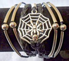 SPIDERWEB & calavera plata efecto Hebras Negro De Cuero Y Cordón Pulsera Tejida