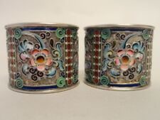 Pair of antique Russian silver 84 cloisonne shaded enamel napkin rings 11 Artel