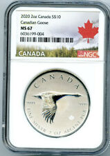 2020 $10 CANADA 2 OZ .9999 SILVER FLYING CANADIAN GOOSE NGC MS67 - EXTRA THICK