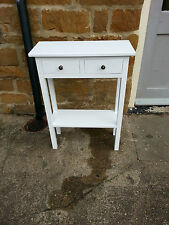 H80 W75 D30cm BESPOKE WHITE  2 DRAWER 1 SHELF CONSOLE HALL BEDROOM SIDE TABLE