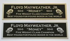 Floyd Mayweather Jr. nameplate for signed boxing gloves trunks photo