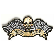 Embroidered Ride Free Winged Skull Sew or Iron on Patch Biker Patch